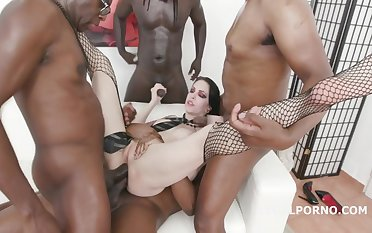 Black guys are fucking Anna De Ville yon for everyone of her holes, looking for it feels good