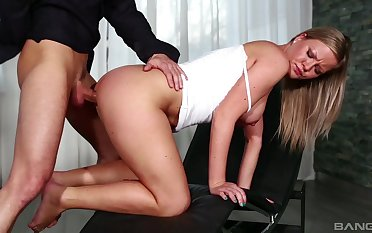 Elegant blonde tortuosities for cock in a remarkable XXX tryout