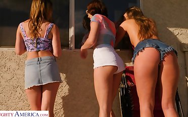 Two hot nymphos have a passion their neighbor together increased by the girls are so horny