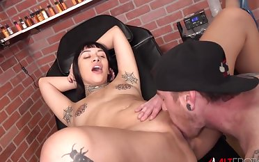 Selena Savage has their way tits tattooed then gets fucked