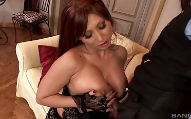 Busty mature pornstar Selina in stockings having wild sex