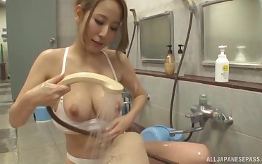 Quickie fucking anent the bathroom give a cock hungry Japanese girl