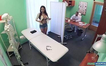 Flexible brunette with large tits gets fucked by the naughty doctor