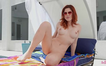 Downcast solo redhead Molly Stewart opens their way pussy lips and moans