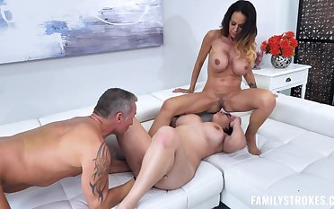 MILFs with huge tits, crazy house porn on a same dick