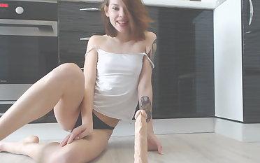 Cum in the kitchen