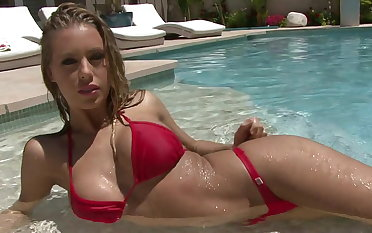 Red rio thong bikini ensemble
