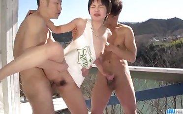 Sexy outdoor threesome sensations be proper of slutty Sakura Aida