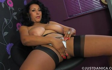 Provocative wife Danica Collins takes off her white panties