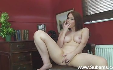Non-professional girl Ellie Rose plays with her nice tits and wet pussy