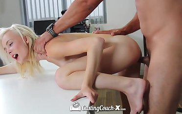 Skinny blonde Maddy Rose swallows thick cock and gets her cunt rammed