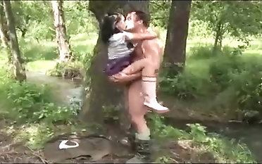 Brunette is getting fucked rock hard in a local forest, in the middle of the day