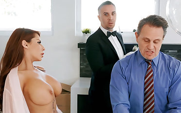 Piping hot butler is ready to anal fuck housewife