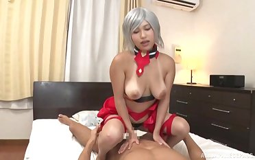 Super Japanese doll handles the cock like a real porn god