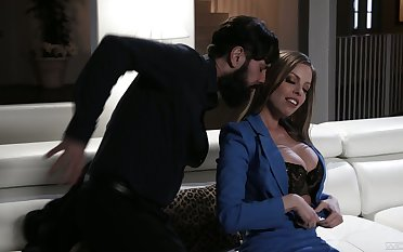 Bitchy milf Britney Amber is polishing a big dick before crazy pussy pounding